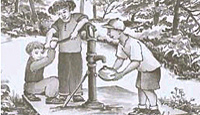 Drawing of kids using a hand pump to get groundwater.
